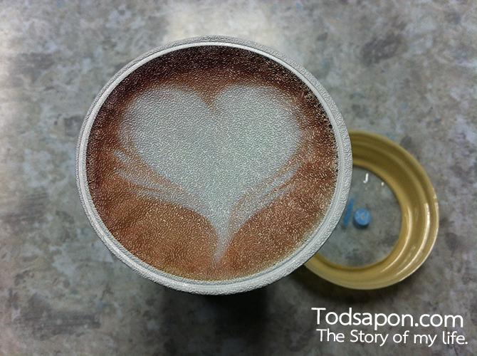 ฝาปิดด้านใน กาแฟเกาหลี ARABUS Coffee เป็นรูปหัวใจ