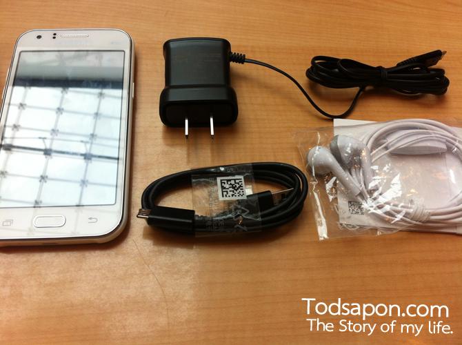 อุปกรณ์ที่แถมมา ของ Samsung GALAXY J1