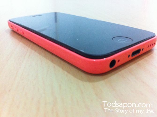 ด้านข้าง iPhone 5c สีชมพู แบตบวม