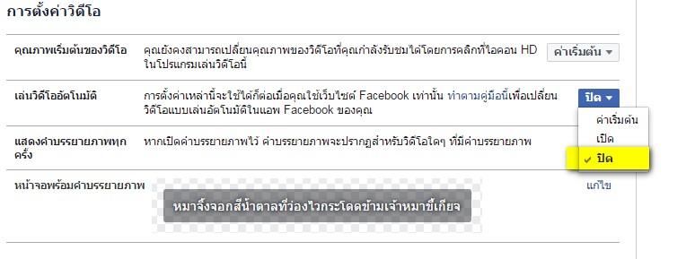 แก้ปัญหา facebook เฟส เล่นวิดีโอเอง