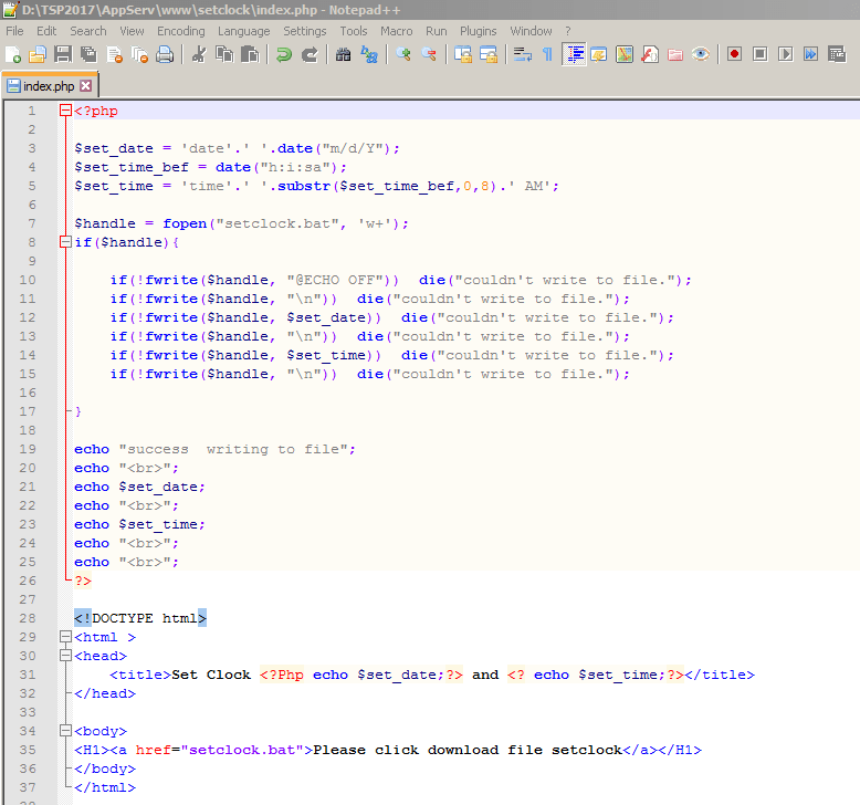 Set วันที่และเวลา บน window ด้วย .bat file โดยใช้ PHP Gen file